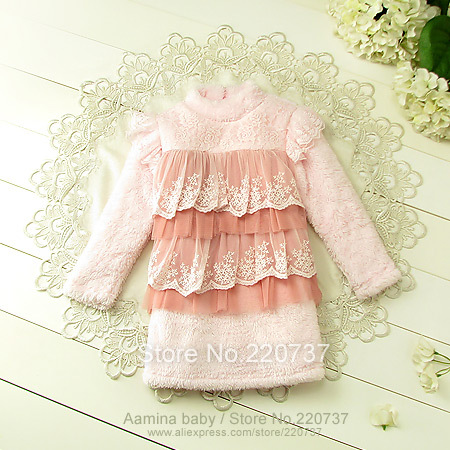 [Aamina]Baby NewYear Winter Cake lace Baby Girl Dress Warm Thick Children Clothing Girl Christmas Outfits Kids Ball Party Wear