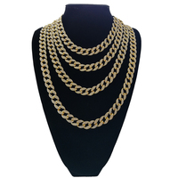Bling Rhinestone Crystal Gold Miami Cuban Link Chain Men S Hip Hop Rock Hyperbole Necklace Jewelry
