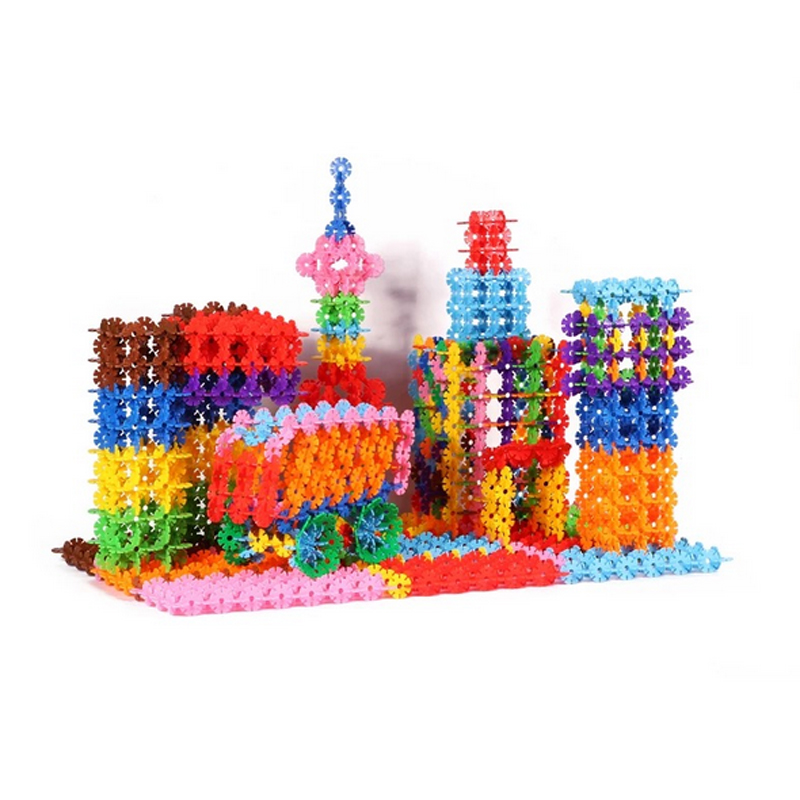 200 pcs diy snow snowflake building blocks kids building