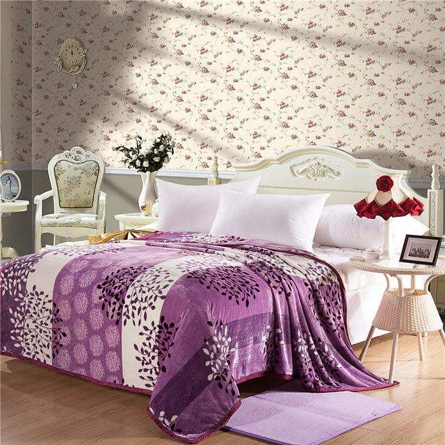 Home Textiles,purple Leaves Style Coral Fleece Blankets For Bed Bedclothes  Can Be As Bed