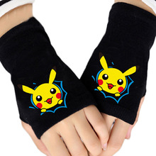 Fashion Winter Anime Pocket Monster Pikachu Cotton Glove Half Finger Printing Black Mitten Gloves Unisex Cosplay Gift