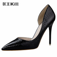 Ladies Pumps Shoes Top Quality Snake Printed Women Shoes Sexy High Heels 2017 Pointed Toe Party