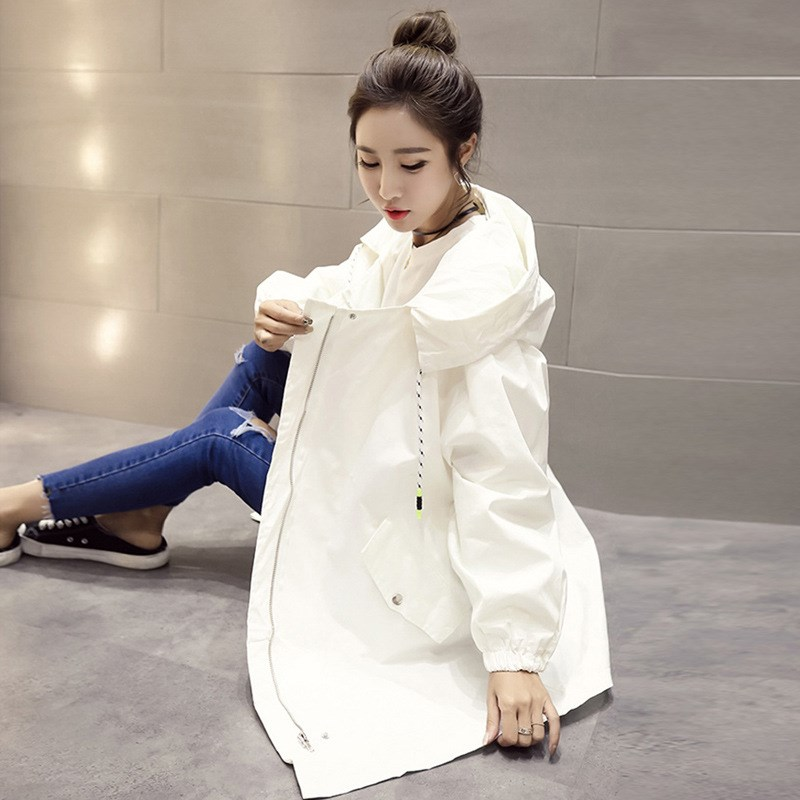 Autumn Winter Women Loose Windbreaker Coat Long Hooded   Trench   Coat Students Casual   Trench   Outerwear
