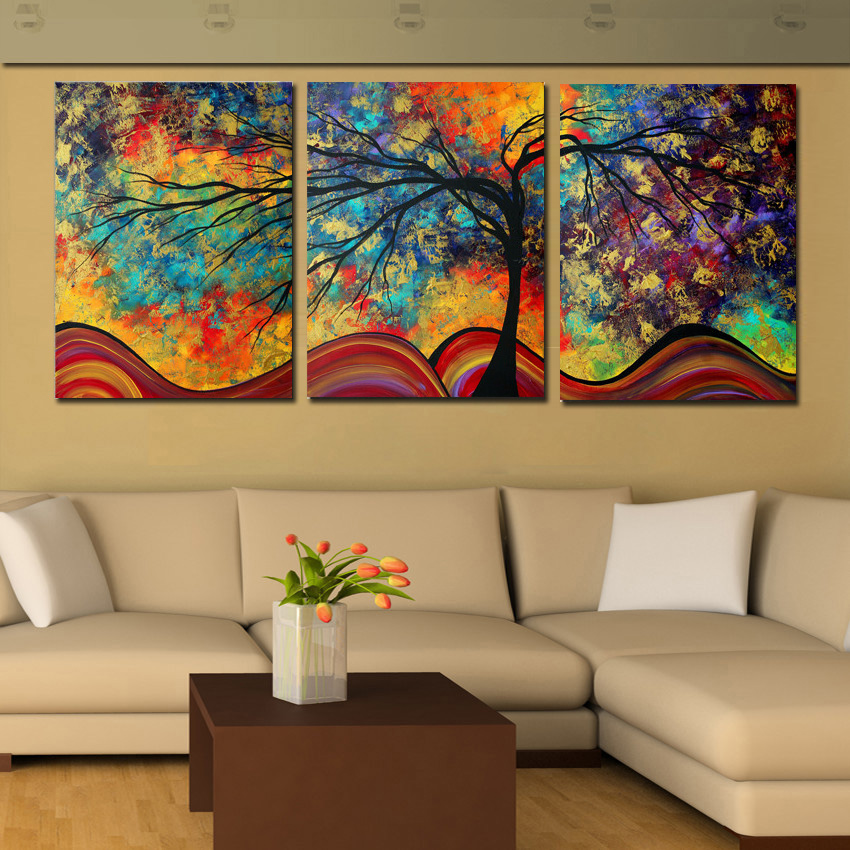 buy large wall art abstract tree painting colorful landscape paintings canvas picture for home living room decoration not framed from