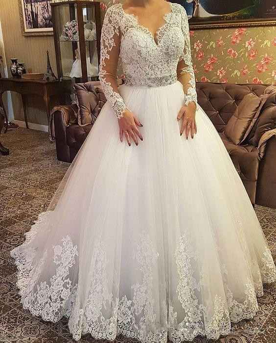 Modern A Line Wedding Dresses 2019 New Long Sleeve V Neck Lace Applique Wedding Gown Bridal Dresses Plus Size Vestido De Novia