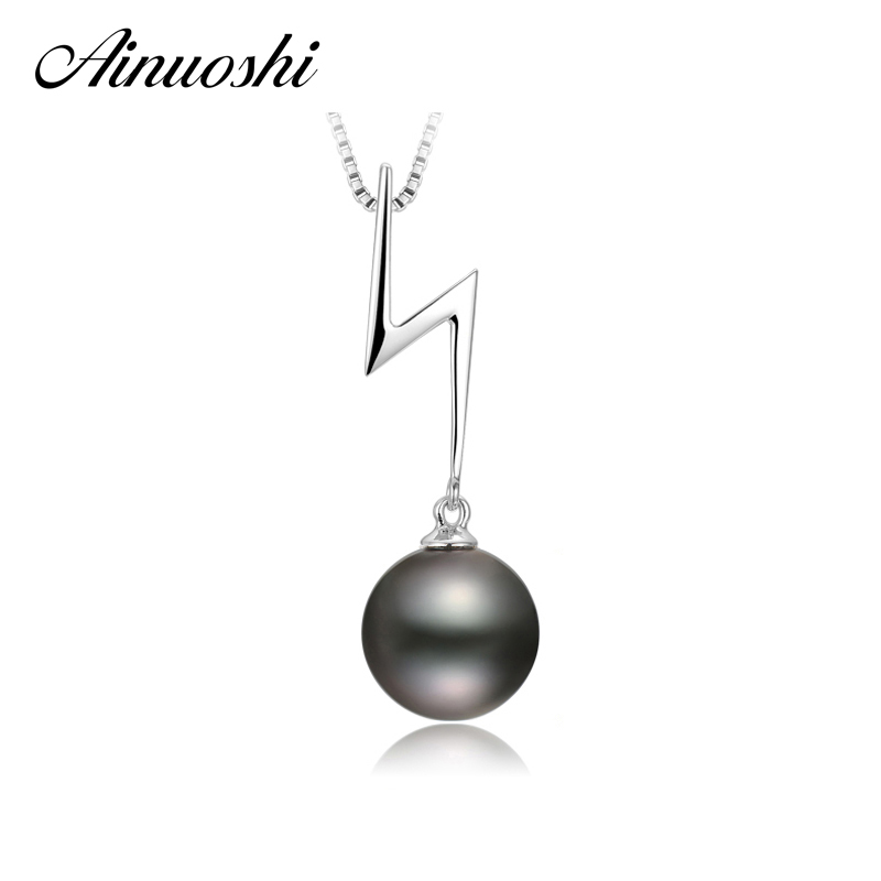 AINUOSHI 925 Sterling Silver Women lightning Pendants Natural South Black Tahiti Pearl 10mm Round Pearl Girl Necklace PendantsAINUOSHI 925 Sterling Silver Women lightning Pendants Natural South Black Tahiti Pearl 10mm Round Pearl Girl Necklace Pendants