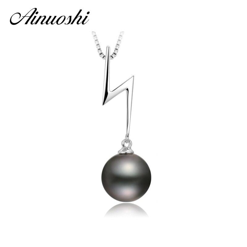 AINUOSHI 925 argent Sterling femmes pendentifs foudre naturel sud noir Tahiti perle 10mm ronde perle fille collier pendentifs