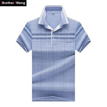 2018 новые летние Для мужчин; короткий рукав рубашки поло Мода Повседневное Бизнес плед рубашки поло брендовая одежда 8301