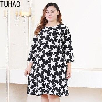 6926874f11 TUHAO 2019 de gran tamaño 10XL 8XL 9XL las mujeres vestido Vintage  estampado vestido Plus tamaño Oficina dama vestidos para las mujeres 6XL 5XL