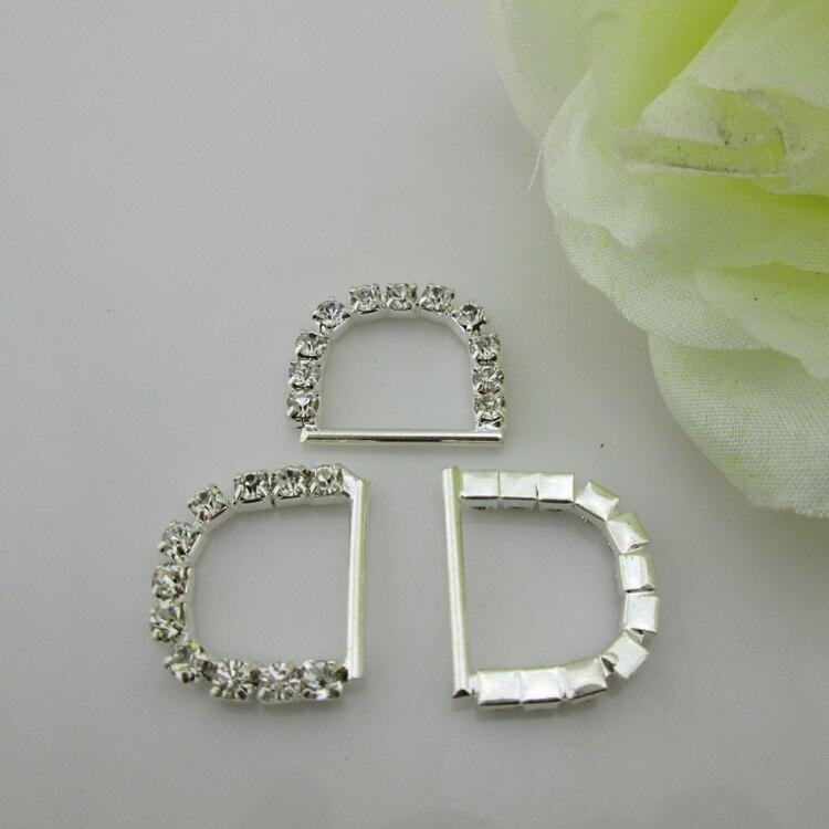 25 43 Bu14 100 Piezas Letra D Hebilla De Diamantes De Imitación De Plata Para Tarjeta De Invitación De Boda In Hebillas Y Ganchos From Hogar Y