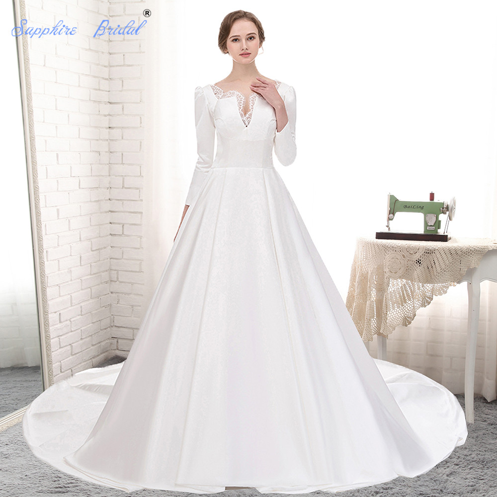 Sapphire Bridal Vintage Wedding Dress 3/4 Sleeve White Ivory Simple ...