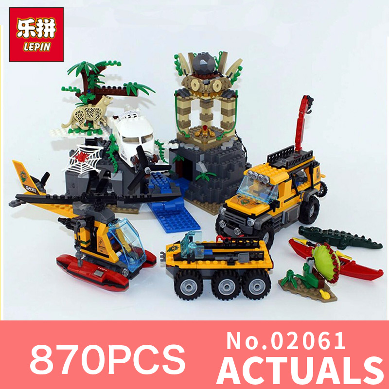 Lepin 02061 870Pcs Compatible City Exploration Of Jungle LegoINGlys 60161 Building Blocks Bricks Toys Model for New Year Gifts compatible city lepin 02005 889pcs the volcano exploration base 02005 building blocks policeman educational toys for children