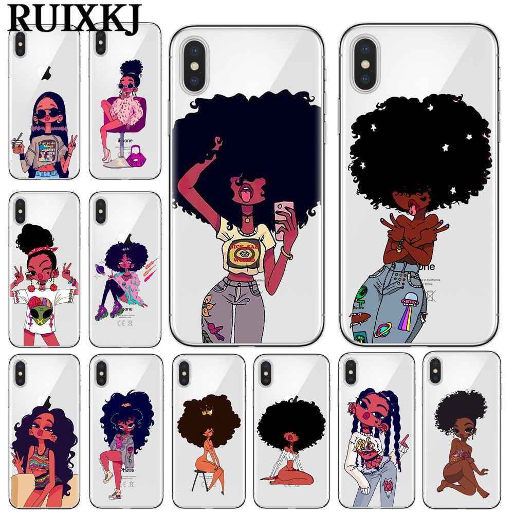 Афро черная девочка Магия меланин поппин искусство Мягкий Силиконовый ТПУ Телефон чехол для iPhone 7 8 6 6s Plus X XR XS Max 5s SE чехол Coque