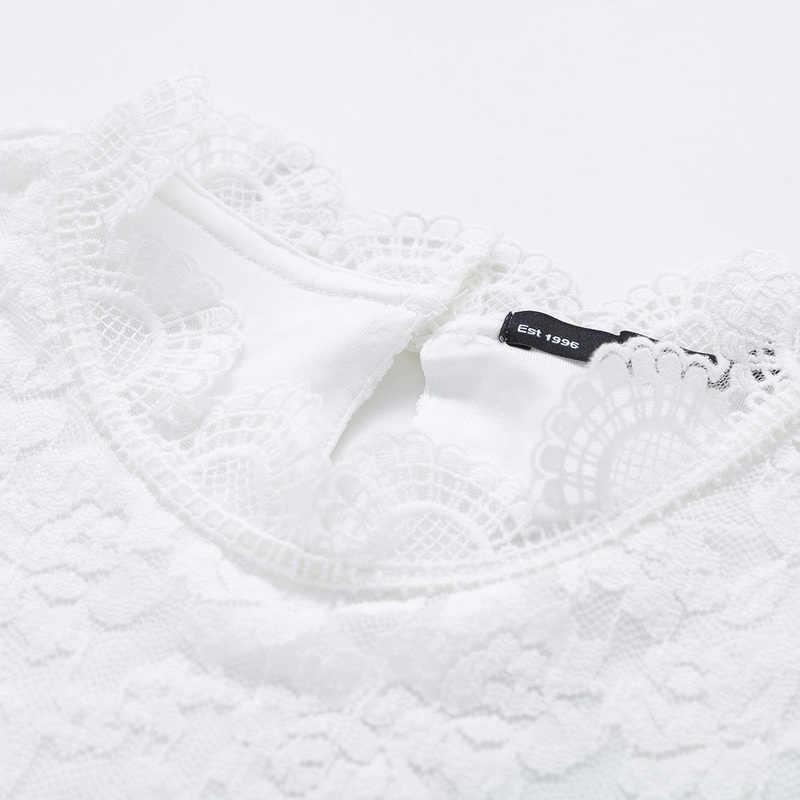 SEMIR Pura Jugo Rendas Tee Vestido branco Gola Alta Manga Comprida Sexy Mulheres Vestidos de Outono Vestido Elegante Para A Festa