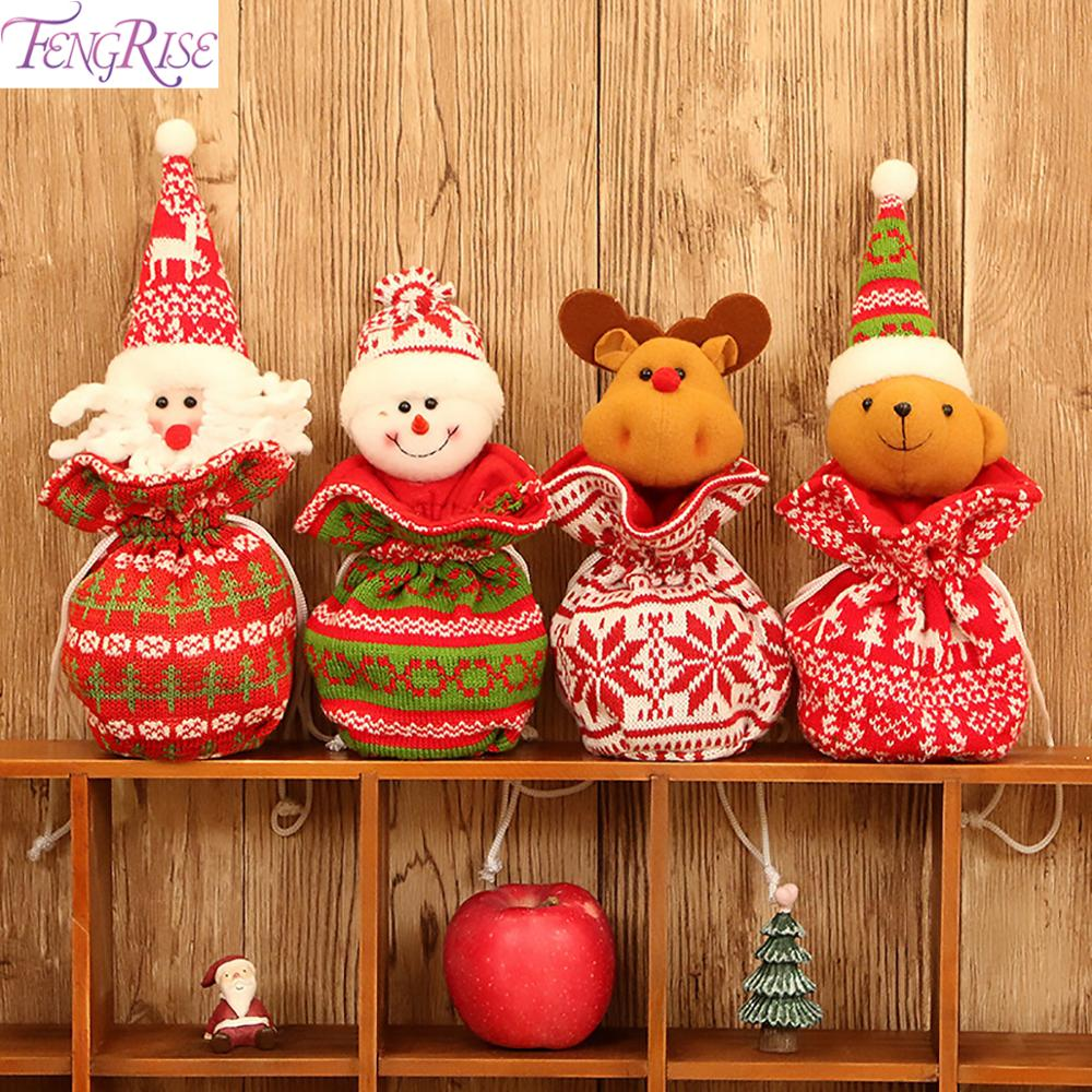 FENGRISE Knit Fabric Christmas Bag Chrismas Decorations for Home Christmas Presents Ornaments Navidad 2019 Happ New Year 2020 in Pendant Drop Ornaments from Home Garden