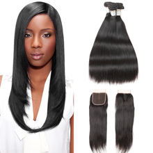 hot deal buy joedir brazilian straight hair 2 3 4 bundles deal with closure cheap human hair wet and wavy bundles with lace closure baby hair