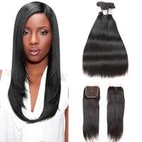 Joedir Brazilian Virgin Hair Straight 2 3 4 Bundles Deal With Closure Cheap Human Hair Wet And Wavy Bundles With Lace Closure