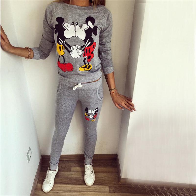 XUANSHOW Hot Selling Women Casual Sportswear Lovely Printed Hoodies long-sleeved Suit Kawayi Tenue Femme Sportswear Sets 5