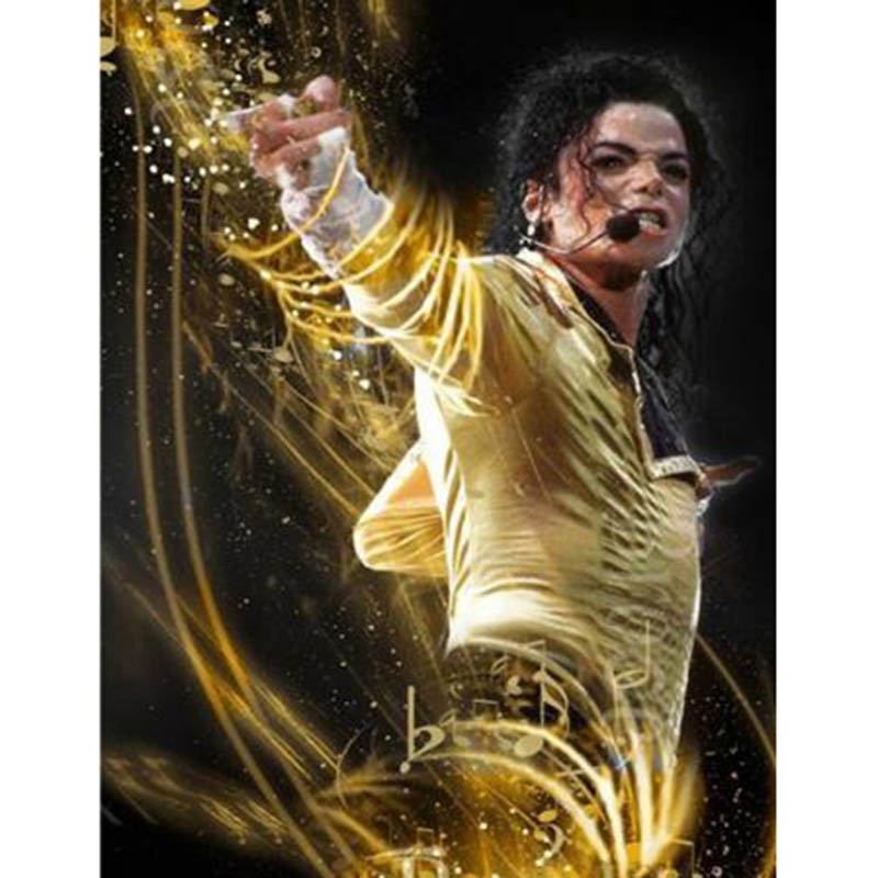 New Michael Jackson diy 5D Lukisan berlian Cross Stitch Full Square Bor Seni Seni Diamond Diamond Embroidery AL018