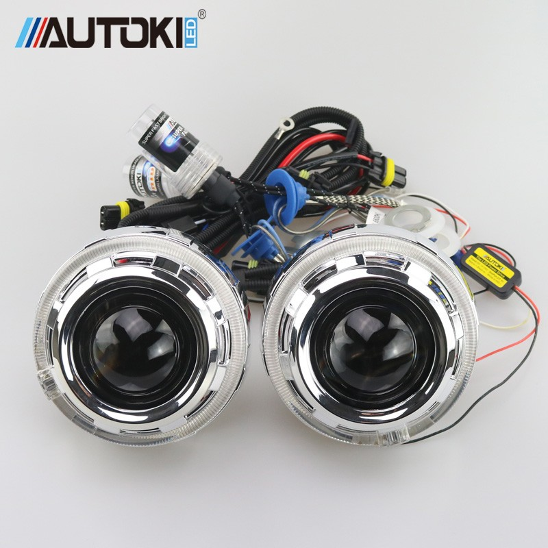 Nouvelle arrivée AUTOKI 2.5 pouces Hid bi-xénon lentille de projecteur avec DRL H1 Mini salut/faible Bi xénon projecteur lentille kit complet
