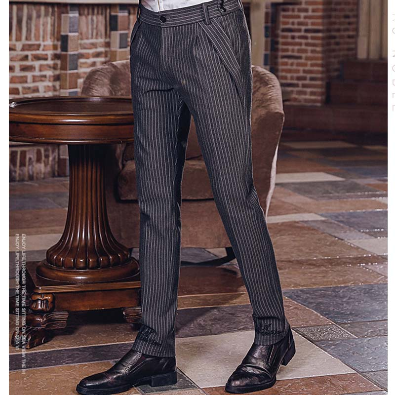 FANZHUAN Brands Clothing men Striped pants casual work business Straight trousers Embroidery slim fit Urban Fashion pants