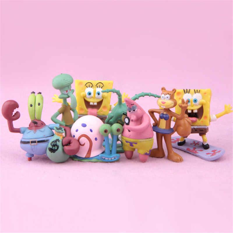 8 pçs/lote Spongebob Patrick Estrela Lula Molusco Fish Tank Brinquedos Action Figure coleção de brinquedos para crianças