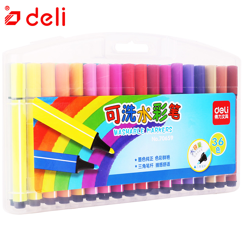 Deli 24/36 Colors Water Color Pen Washable Marker Set Painting Sketch Pen Safe Non-toxic Color Brushes School Office Supplies deli s557 marker pen