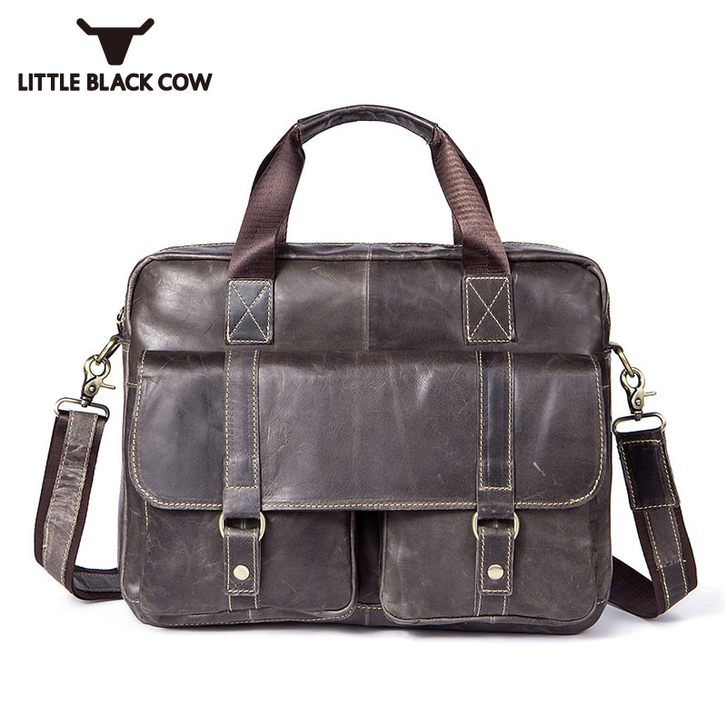 Hot Genuine Leather Notebook Computer Business Handbags Bags For Men Sling Bag Zipper Work Travel Totes Bags Male Big Briefcase