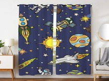 Blackout Curtains 2 Panels Grommet for Bedroom Spaceship Sun Rocket Galaxy Boy