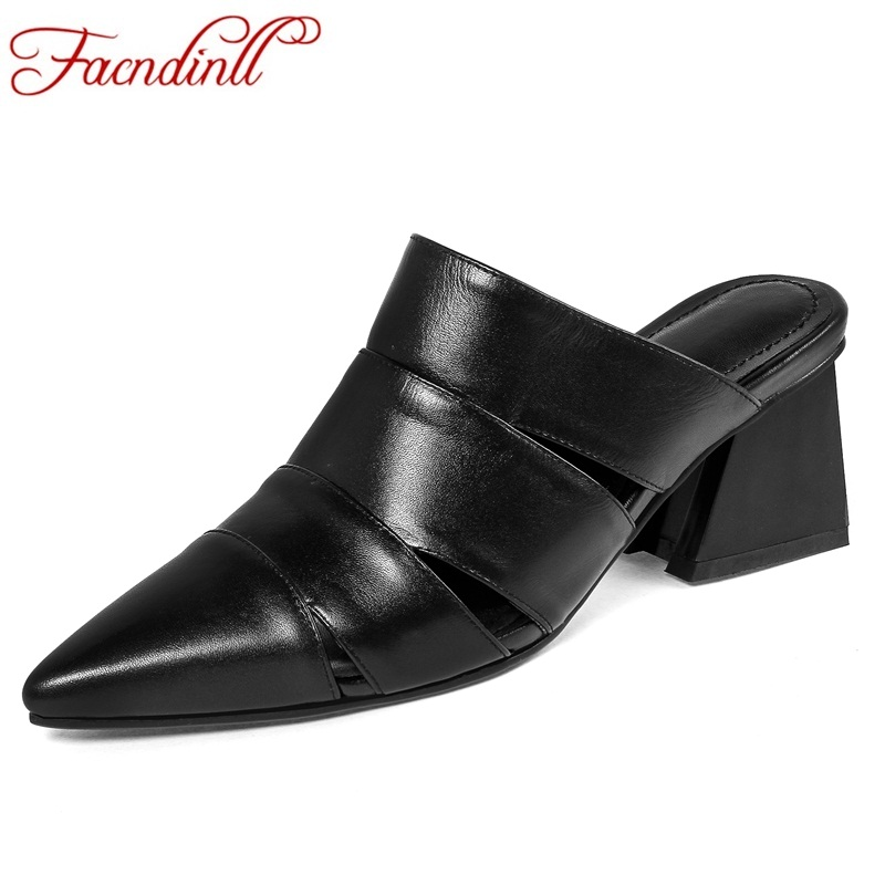 FACNDINLL summer women shoes genuine leather sandals slipper sexy fretwork high heels lady party dress shoes women beach sandals facndinll genuine leather sandals for