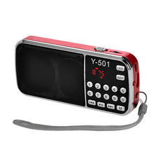 LCD Digital Auto Mini FM Radio Speaker USB Micro  TF Card Mp3 Music Player