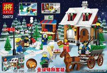 39072 707 шт. Рождественские серии каретки Дом Совместимо с Legoingly строительные блоки Кирпич игрушка