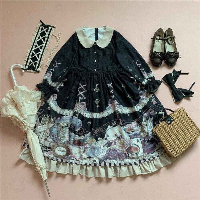 Rabbit Alice Sweet Printed Half Sleeve Lolita Dress Peter Pan Collar Party Dress