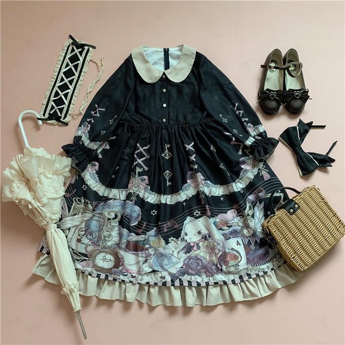 Lapin & Alice ~ robe Lolita à manches courtes imprimé doux robe de soirée à col claudine
