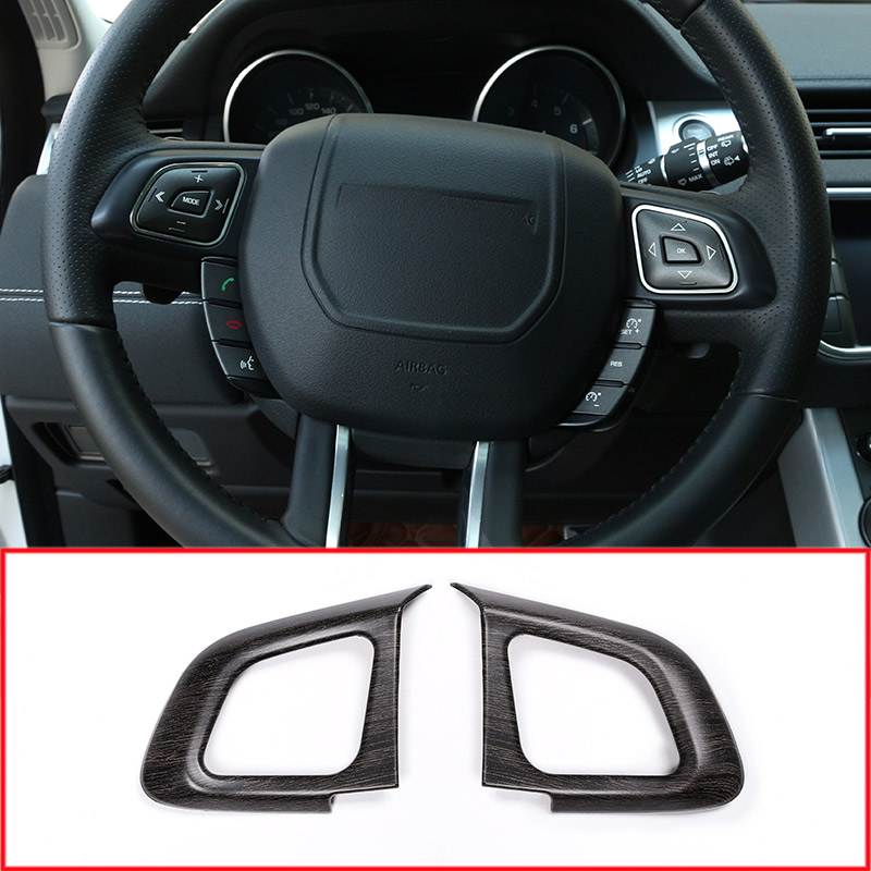 2pcs Oak Wood Colour Luxury Interior Car Steering Wheel Button Frame Trim For Land rover Range Rover Evoque 2012-2017 Accessory