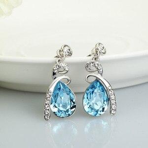 Image 5 - Neoglory avusturya kristal mavi takı seti düğün gelin Charm doğum günü hediyeleri için kız arkadaşı kadınlar 2020 yeni JS11