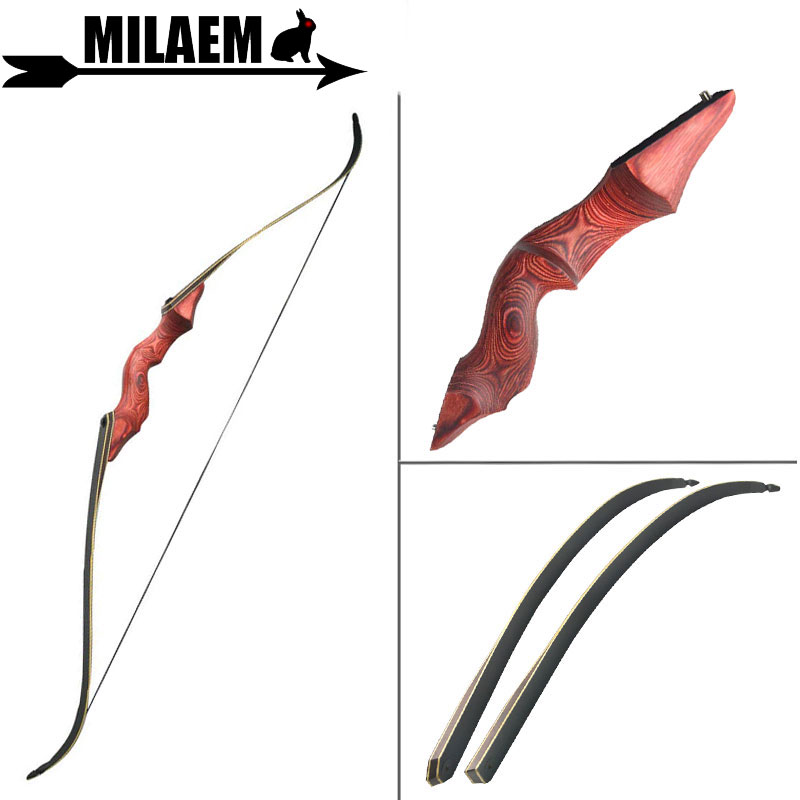 60inch 30-60lbs Archery Recurve Bow Black Hunter Hunting Bow Lamination Bow Limbs Right/Left Hand Outdoor Shooting Accessories