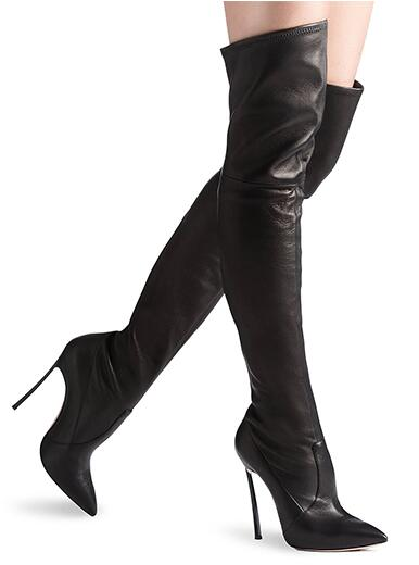 high quality custom make large size woman Black leather pointed toe spike high heel velvet stretch over knee boots real photo