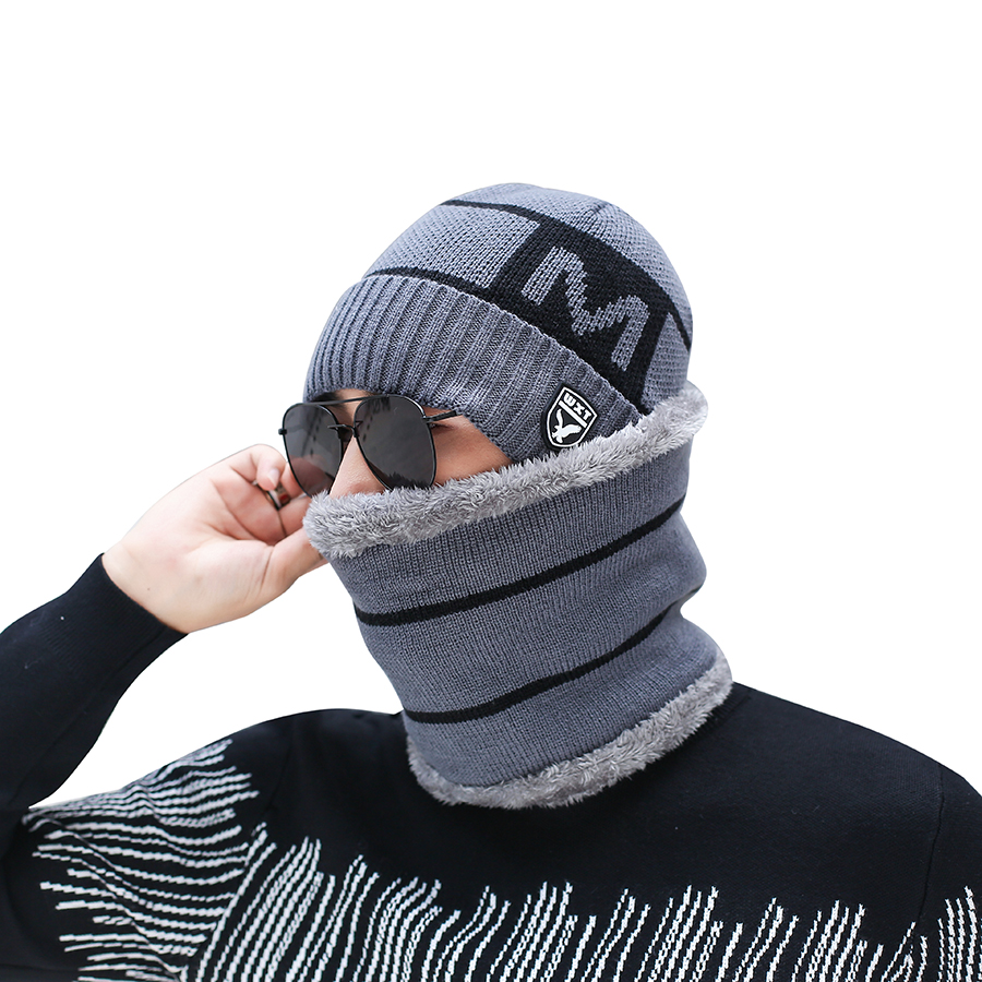 Men Winter Hat Scarf Set Knitted Letter Wool Winter Set 2018 Winter Caps Beanies Men's Scarves Neck Warmer Ski Caps Scarves