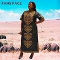 Африканские Платья Плюс Размер Женщины Африканские Одежды Базен Riche Традиционная Национальная Вышивка Печати afrikanische kleider