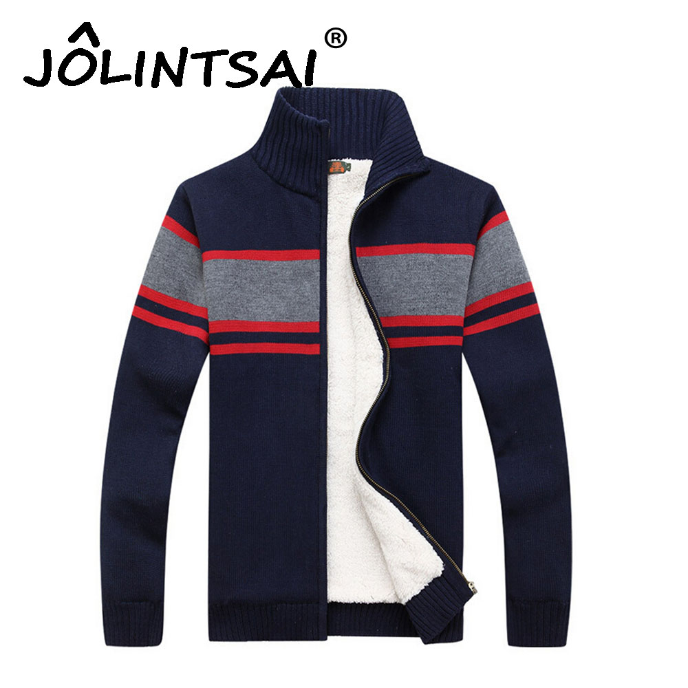 Size M -3XL Cashmere 2016 Thicken Zipper Fleece Sweaters Men Patchwork Cardigan with Velvet Men Blusa Masculina Brand Clothing