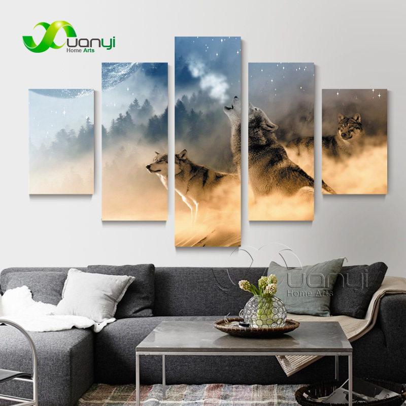 5 Panel Abstract Wolf Canvas Oil Painting Cuadros Home Decoration Modular Wall Picture For Living Room HD Print Unframed PR1357