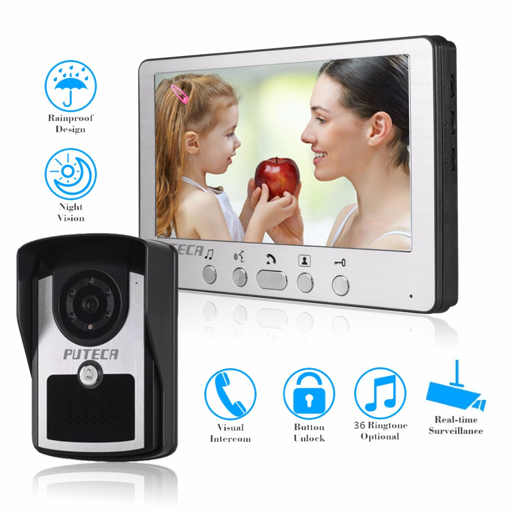 Apartment Intercom System Wired 7 Color Video Door Phone intercom System HD Camera Night Vision Doorbell Home Security ac100v 240v 7 inch screen 16 9 hd villa button wired video doorphone infrared night vision home security doorbell system