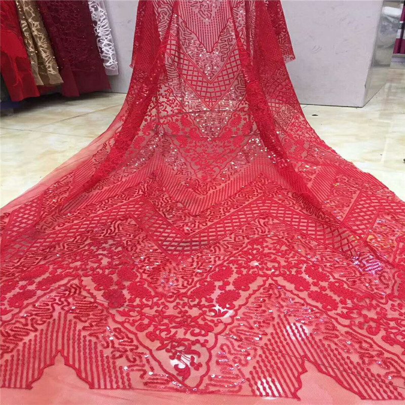 African Net Lace High Quality Embroidered Latest Nigerian Lace Fabrics Red Sequins French Lace Fabric for Wedding Dress HX742 1