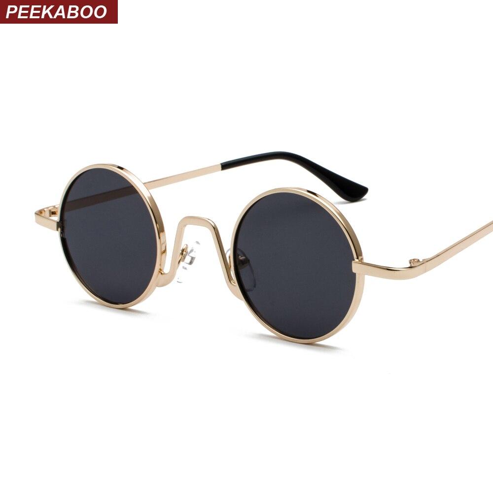 Coucou rétro petites lunettes de soleil rondes femmes noir et or métal 2019  cercle lunettes de 970ce3fbf005