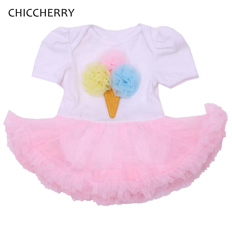 Ice Cream Applique Summer 2016 Body Baby Rompers Lace Tutu Dress Short Sleeve Jumpsuit Newborn Baby Girl Clothes Infant Clothing summer cotton baby rompers infant toddler jumpsuit lace collar short sleeve baby girl clothing newborn overall clothes