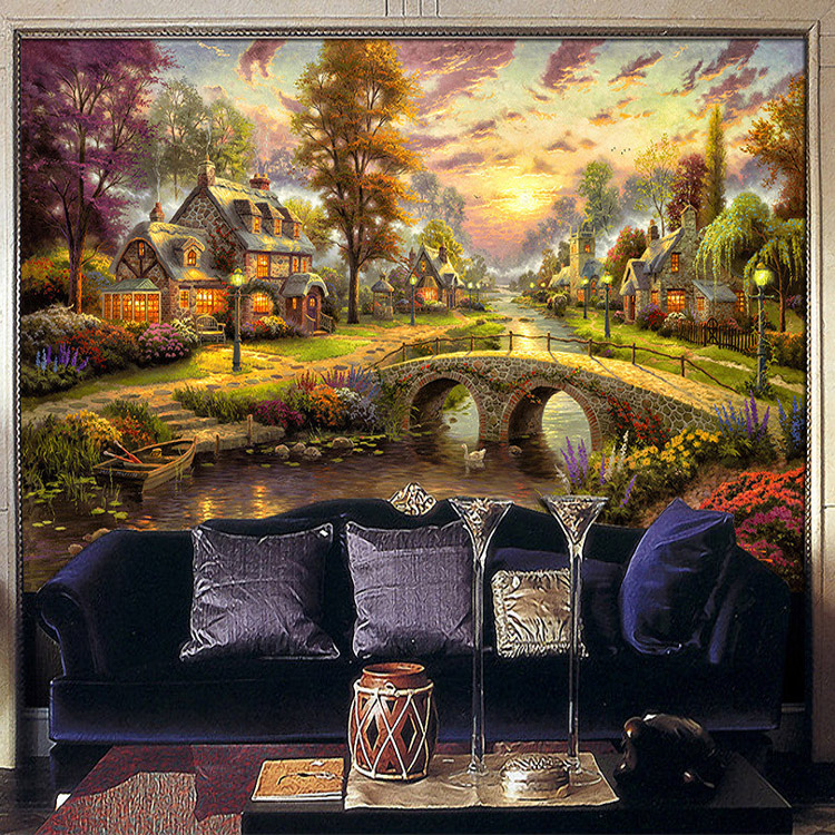 Vintage oil painting wallpaper country forest lodge wall - Oil painting ideas for living room ...