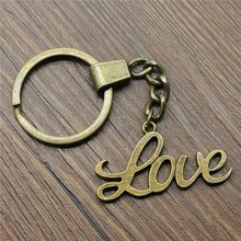 Love Keyring Keychain 40x18mm Antique Bronze Key Chain Souvenir Gifts For Men