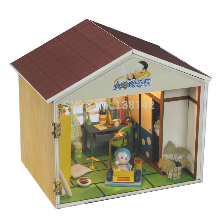 13014 Nobita 's room handmade DIY doll house miniature doll house voice led light house for dolls free shipping first colouring book doll s house