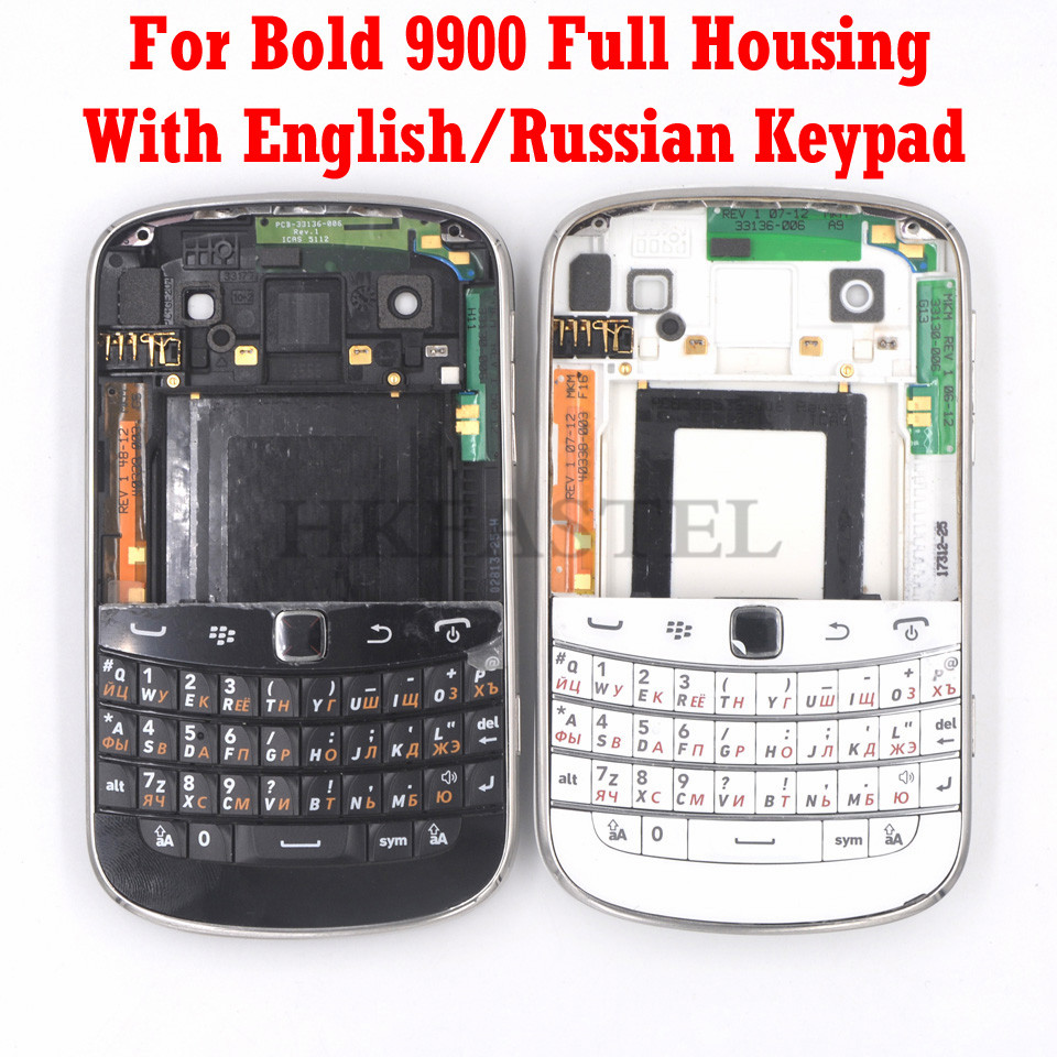 For Blackberry bold 9900 Brandnew Full Complete Mobile Phone Housing Cover Case keyboard English Russian Keypad Free Shipping